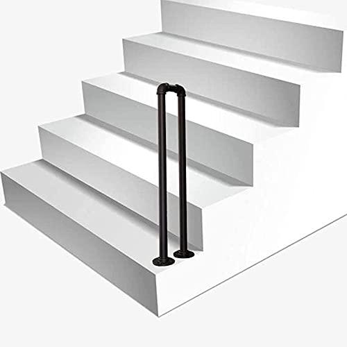 OUWTE Barandilla de Escalera en Forma de U, barandilla de transición Negra Mate de Hierro Forjado para escaleras Interiores y balaustrada de peldaños al Aire Libre (tamaño: 65 cm (2,1 pies))