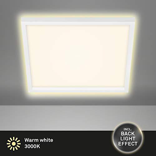 Briloner Leuchten - LED Deckenleuchte, Deckenlampe inkl. Backlight-Effekt, 22 Watt, 3.000 Lumen, 3.000 Kelvin, Weiß, 422x422x40mm (LxBxH)
