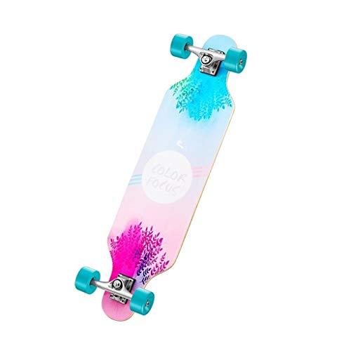 Standard Skateboards Skateboard Four-Wheeled Scooter Big Fish Plate Longboard Female Adult Street Travel Scooter Beginner Skateboard Gift (Color : Pink, Size : 922412cm)