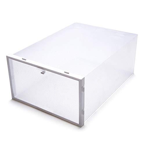 XKMY Estante de almacenamiento de zapatos con tapa para zapatos, caja de plástico transparente engrosada, para zapatos, organizador de zapatos, zapatero (color: blanco)