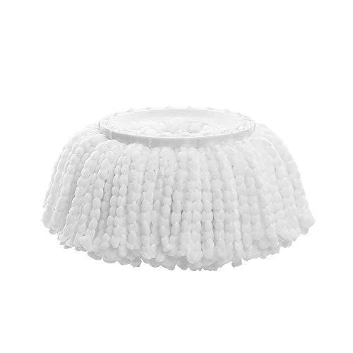 Cabezal de repuesto universal para fregona de fibra redonda, accesorio de repuesto para uso doméstico comercial e industrial, color blanco, 2 unidades