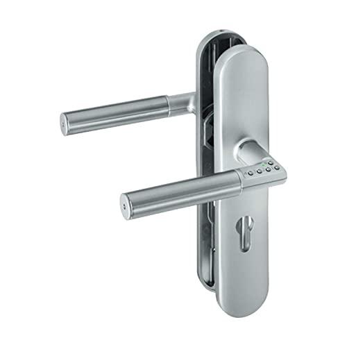 ASSA ABLOY digitaler Türbeschlag Code Handle Langschild und PZ-Lochung DIN Links - Zimmertürbeschlag mit PIN-Code - Silber