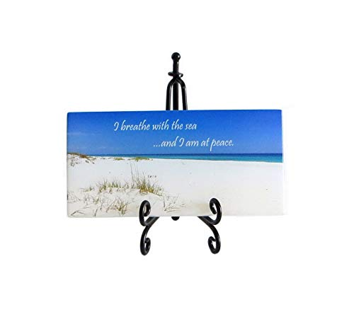 Lifeforce Glass I Breathe with The Sea Inspirational Glass Plaque. Peace and Serenity for Your Desk. Includes a Folding Easel and Gift Box