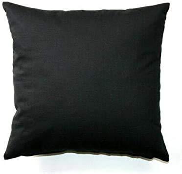 Brit Cotton Einfarbige Kissenbezüge für Sofa oder Bett, 35 x 35 cm, Schlafzimmer-Dekoration und Heimdekoration, quadratischer Kissenbezug für Couch (schwarz, 2 Stück)