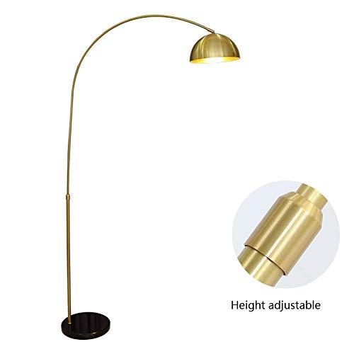 DROMEZ Bogenleuchte Messing, Moderne Bogenlampe mit Höhenverstellbar, Langlebig Marmorfuß, E27 Fassung, Verstellbare Lampenschirm, Warmes Licht, 40W Stehlampe für Wohnzimmer, Schlafzimmer
