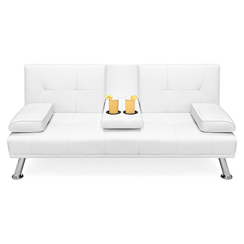 Best Choice Products Modern Faux Leather Convertible Futon Sofa w/Removable Armrests, Metal Legs, 2 Cupholders - White