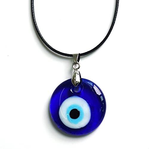 JIUYECAO Türkisches blaues Auge Halskette, B, runde Tropfenform Böser Blick Anhänger Halskette Legierung/Leder Seil Kette Türkisch Schutz Glück Halskette für Frauen Männer Geschenke