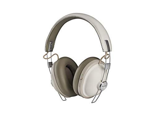 Panasonic RP-HTX90N Cuffie Bluetooth a Padiglione, Bassi Potenti con Driver da 40 mm, 24 Ore di Riproduzione Wireless, Noise Cancelling, Comandi Vocali, Design Rétro Contemporaneo, Bianco Panna