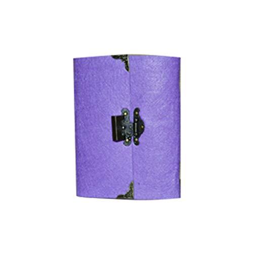 SHOTAY Cuaderno de viaje con llave de bloqueo, cuaderno de viaje retro con llave de bloqueo Planificador de diario Bloc de notas de diario Papel kraft Bocetos de negocios Papelería de escritura Morado