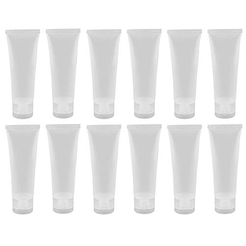 24PCS 100ml/3.4oz Empty Refillable Clear Plastic Squeeze Soft Tubes with Flip Cover Lotion Bottle Travel Sample Packing Cosmetic Makeup Container Storage Vials Jars for Facial Cleaner Toiletries