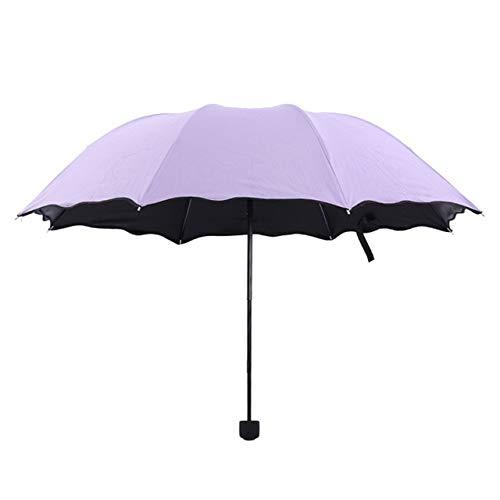 ZGMMM Einfache Mode Blume Sonne Regen Falten Regen Klar Regenschirme Frauen Kinder Winddicht Sonnenschutz Regenschirm USA Lila