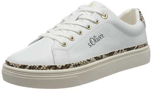 s.Oliver Damen 5-5-23660-24 Sneaker, Weiß (White Comb. 110), 42