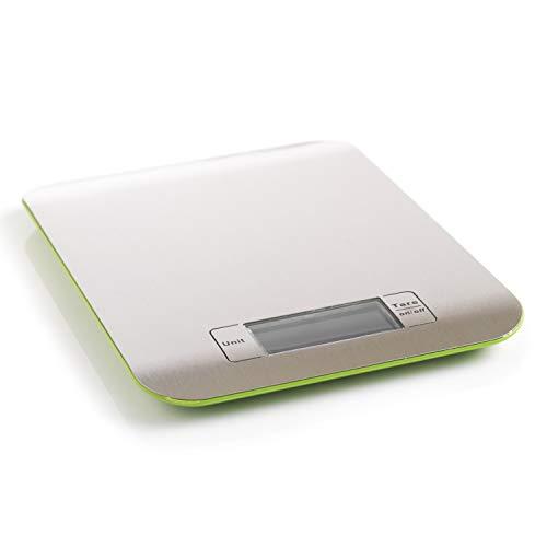mastrad F76508 Balance INOX, Rouge,précision près, pesée en gramme, Kilogramme, Livres et onces, Extra Plate et légère-F76508, Acier Inoxydable, 22 x 16,2 x 1,4 cm
