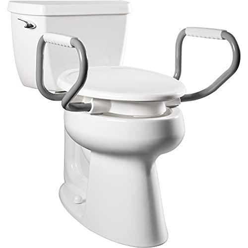 Bemis Independence E85300ARM 000 Clean Shield Raised Toilet Seat with Support Arms, Elongated, White