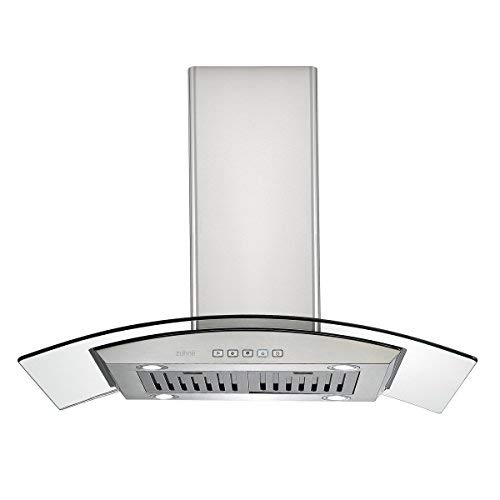 Zuhne iChorus 36 inch Kitchen Island Vented/Ductless Stainless Steel Range Hood or Stove Vent with Energy Saving Touch Control & LED Lights