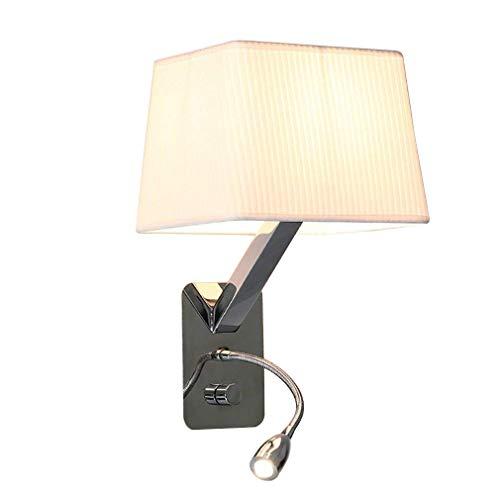 Applique murale moderne avec flexible réglable LED 1W Lampe de lecture chevet avec interrupteur Blanc chaud intérieur Chambre Veilleuse Abat-jour en tissu spot mural design créatif E27 max 40W Weiß