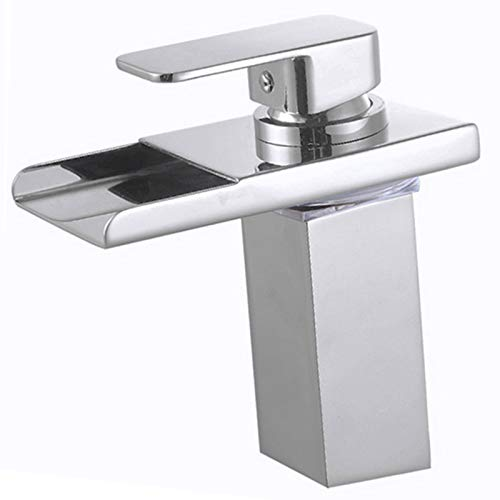 Wovier Brushed Nickel LED Waterfall Spout Bathroom Sink Faucet with Supply Hose,Single Handle Single Hole Lavatory Faucet,Slanted Body Basin Mixer Tap Commercial
