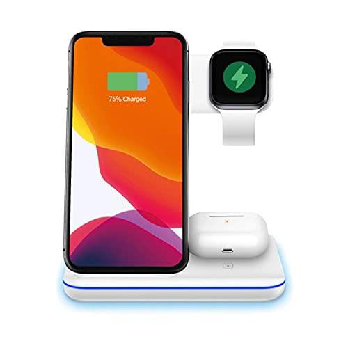 Nueva versión 3 en 1 cargador inalámbrico, soporte de carga para Apple Watch, Airpod Pro 2, modo de mesa de noche para iWatch Series 5/4/3/2, carga rápida de 15 W para iPhone 12 / 12Pro / 11 / XR / Xs