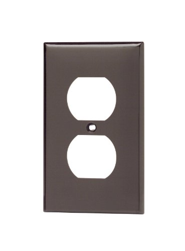 Leviton 80703 1-Gang Duplex Device Receptacle Wallplate, Standard Size, Thermoplastic Nylon, Device Mount, Brown