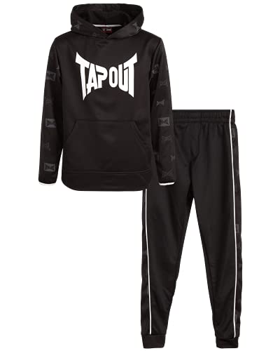 TAPOUT Boy's Jogger Set – 2 Piece Tricot Hoodie and Sweatpants Wrestling Sweatsuit (4-12), Size 8, Black