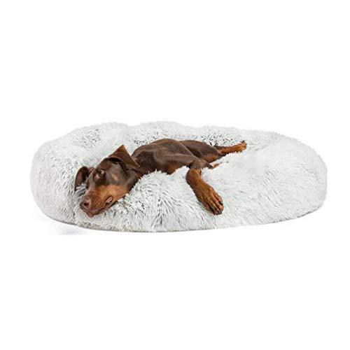 Flauschiges Hundebett abziehbar und waschbar,Grosse Hundesofa Hundekissen in Doughnut-Form,Weich wärmen Haustierbett Kissen Für Große Hunde/Katzen-XL-100cm-grau