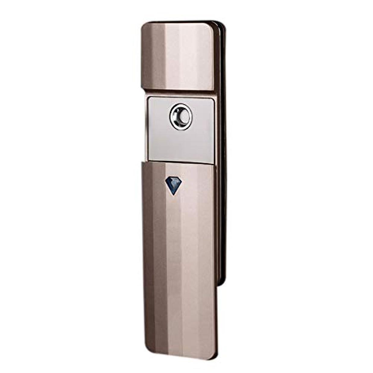 望む横たわる突然SODIAL 携帯用ナノ?スプレー、噴霧、便利なフェイシャル?スチーマー、噴霧器、Usb充電式面部保湿水和スプレー装置、美容器具(ゴールド)