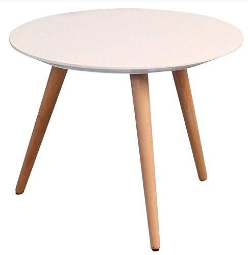 HomeTrends4You 172926 Mesa de café, Altura 36 cm/diámetro 50 cm, Blanco Mate