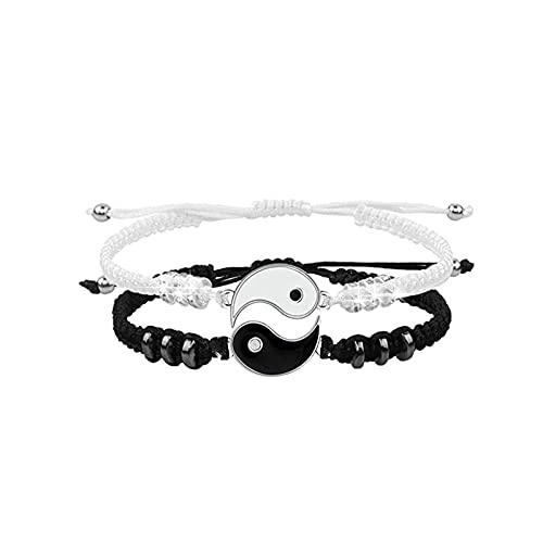 Armband, THETAG 2 Matching Yin Yang Verstellbare Schnur Armband Freundschaft Bangle Pärchen Armband, Personalisierte Armbänder für Paare und Bester Freund