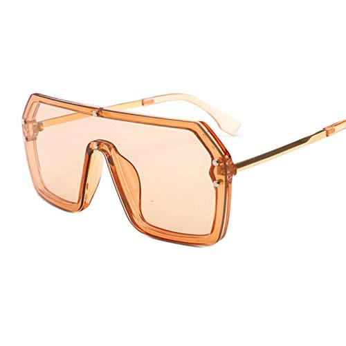 DNAMAZ Übergroße quadratische Sonnenbrille für Frauen Vintage Retro Sun Galssses Weibliche Männer Luxus Schwarze Big Töne (Lenses Color : Champagne)