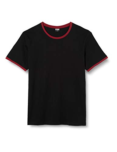 Urban Classics Herren Ringer Tee T-Shirt, Mehrfarbig (blk/Burgundy 651), X-Large
