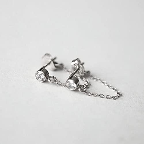 LIUBAOBEI Pendientes De Mujer Aro,Pendientes De Botón De Circonita De Cristal De Joyería De Plata Esterlina 925 para Mujer Rainbow Moon Cz Chain Earring-C