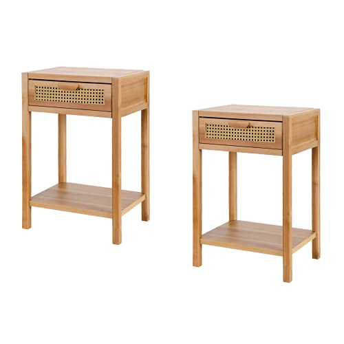 COZAYH Set of 2 Modern Minimalism Nightstand End Table Side Table with Woven Pattern Drawer and Shelf Storage, Rustic Farmhouse Style, Natural