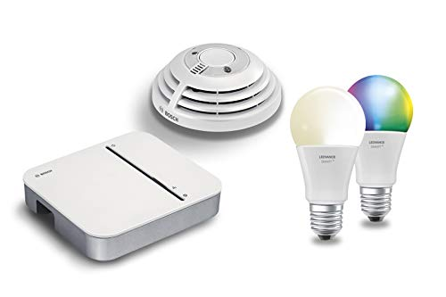 Bosch Smart Home & LEDVANCE - Juego de detectores de Humo con función de aplicación y Bombillas LED integradas (Compatible con Apple HomeKit)