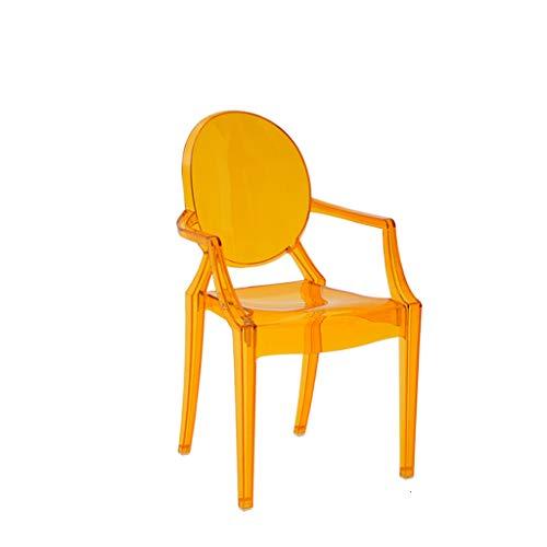 CJH Nordic Creatieve Transparante Armleuning Kinderstoel Thuis Kunststof Kristal Acryl Eetstoel Oranje