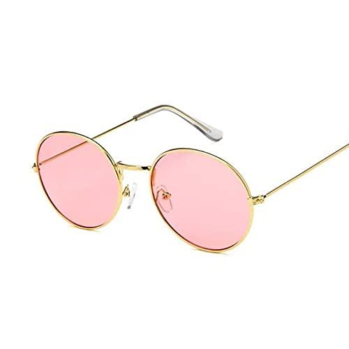 MIMITU Gafas de sol retro redondas amarillas para mujer, gafas de sol para mujer, hombre / hombre, espejo de aleación, rosa dorado