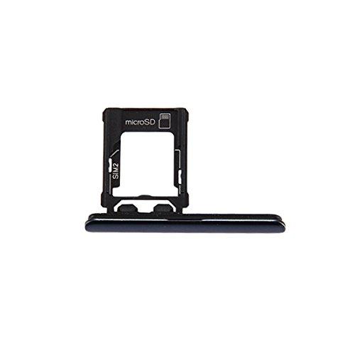 Moonbaby nieuwe Micro SD/SIM-kaart lade + kaartsleuf poort stofplug voor Sony Xperia XZ Premium (Dual SIM versie) (zwart), Zwart