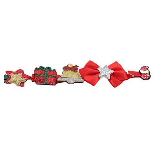 SJHFG 5 piezas de pinzas para el pelo de Navidad lindo dibujos animados niños accesorios para el pelo horquillas ornamento joyería regalo para niños, lazo rojo