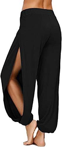 ASKSA Damen Hochschlitzige Haremshose Frauen Hippie Split Sport Hose Fitness Stretchhose Loose Fit Yogahose Sporthose (Schwarz, XL)