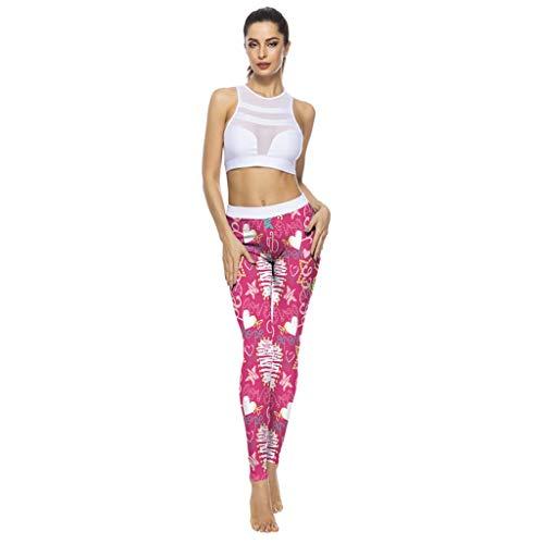 Likecrazy Sporthose Damen Yogahosen Strumpfhosen Hhohe Taille Lauf-Leggings Jogginghose Yoga Sport Leggings Fitnesshose süß Leichte Atmungsaktiv Laufhose für Damen mit Taschen