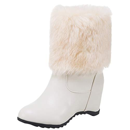 TWIFER Botas de Nieve Otoño Invierno para Mujer Suela Antideslizante Zapatillas Ligero Botines Que Caminan Zapatos de Trabajo Formal Calzado Beige Negro Blanco