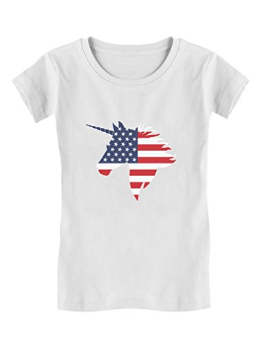 American Patriotic Unicorn USA Flag 4th of July Girls' Fitted Kids T-Shirt M (7-8) White