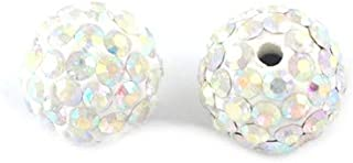 Packet 10x White/Silver Polymer Clay 12mm Rhinestone Disco Ball Beads Y12675 (Charming Beads)