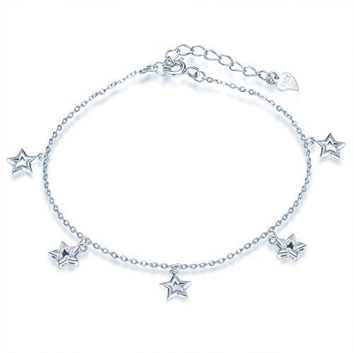 Yumilok - Tobilleras de plata 925, tobilleras de estrella para mujer y niña, con incrustaciones de circonita cúbica, cadena de ancla ajustable