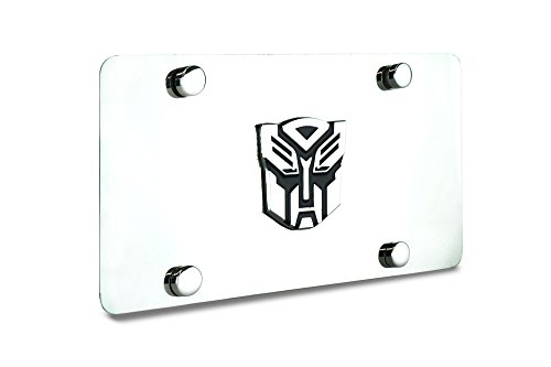 JR2 3D Transformers Metal Badge Stainless Steel Mirror Chrome License Plate+Free Caps