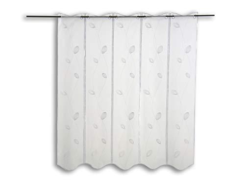 Scheibengardine Bestickt weiß mit Blättern mit Höhe 90cm | Breite der Gardine frei wählbar in 16cm Schritten | Gardine | Panneaux (Höhe 90cm)
