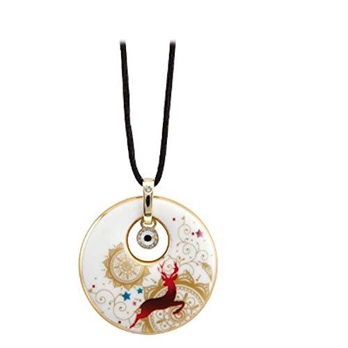 Kette - Mandala 37005171 Porzellan, handbemalt und mit Gold veredelt mit Swarovski® Kristall Textilband mit Verschluss - 80 cm