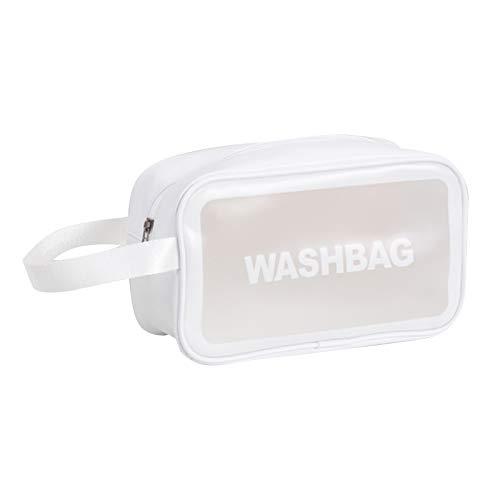 Leeofty Bolsas de cosméticos transparentes Bolsa de maquillaje impermeable de PVC Bolsa de almacenamiento portátil de viaje de gran capacidad Bolsa de aseo Organizadores con asa