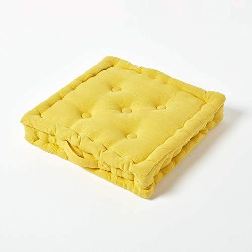 Homescapes Sitzkissen Stuhlkissen Rajput Sonnengelb 40 x 40 cm RIPP-Optik Stuhlauflage gelb 100% Reine Baumwolle mit Polyesterfüllung