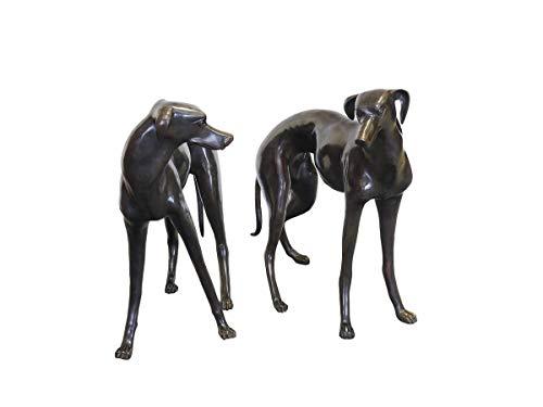 Antike Fundgrube Windhunde Bronzefiguren Hunde Pärchen | Tierfiguren Skulpturen | Weibchen Rüde lebensgroß (2290)