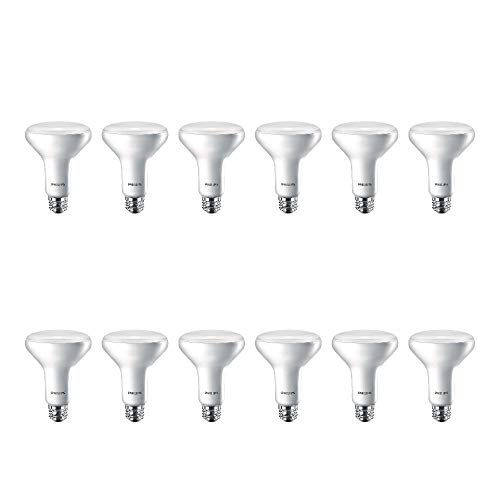 Philips LED 474312 BR30 Dimmable 650-Lumen, 2700-Kelvin, 11 (65-Watt Equivalent) Flood Light Bulb with E26 Medium Base, Soft White, 12-Pack, 12 Pack, 12 Count